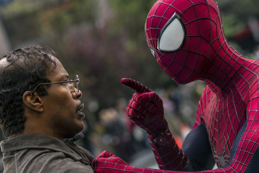 Max+Dillon+%28Jamie+Foxx%29+and+Spider-Man+%28Andrew+Garfield%29+come+face+to+face+more+than+once+in+%22The+Amazing+Spider-Man+2%22%2C+which+opens+Friday%2C+May+2.+