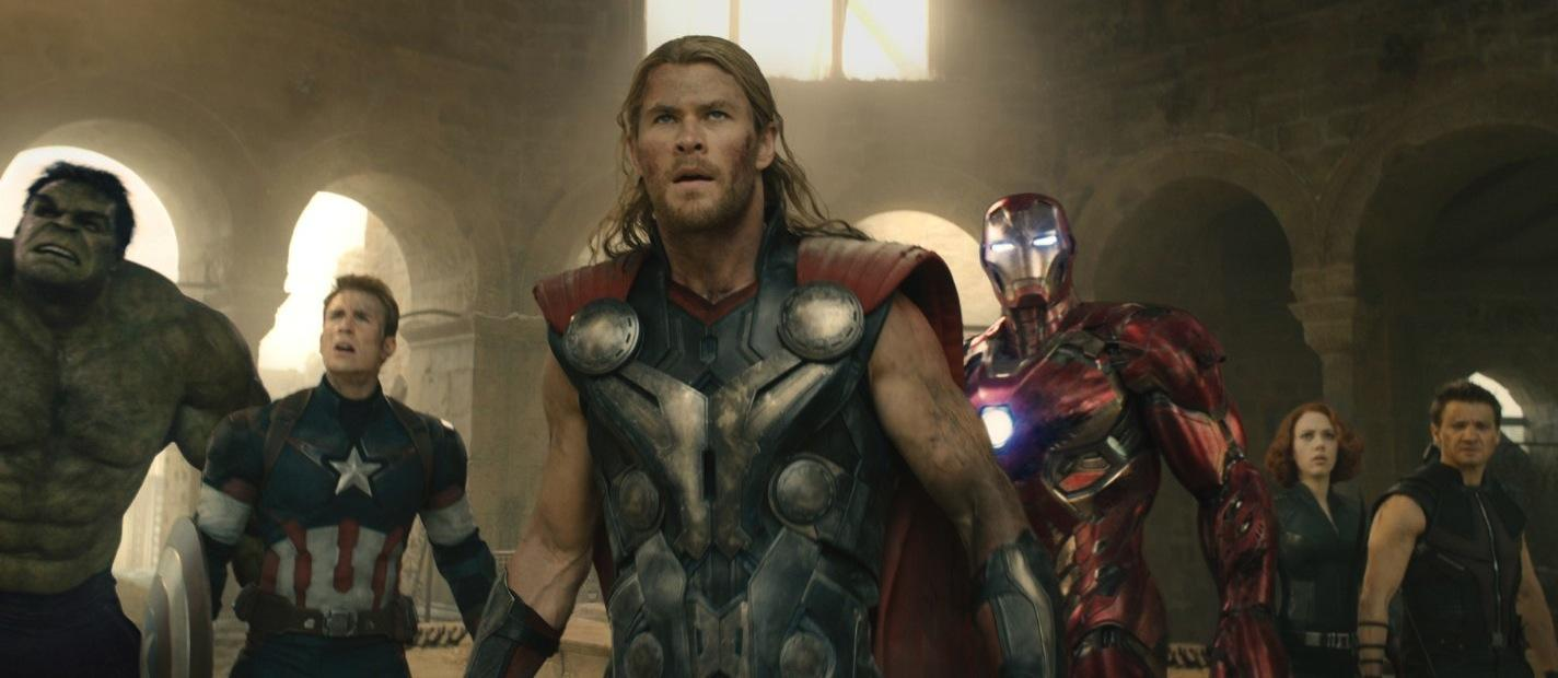 The Avengers -- (left to right) Hulk, Captain America, Thor, Iron Man, Black Widow, and Hawkeye -- return after three years for