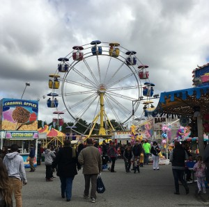 Topsfield Fair's Ferris wheel, and one of the paths filled with food (Oct. 4, 2015).