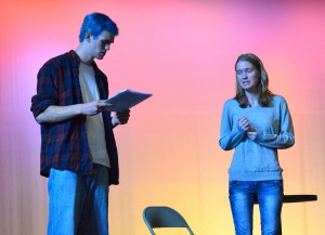 "Cast members of ""All In The Timing"" rehearse in the WHS auditorium. The show will be performed at Watertown High School on Nov. 5-6 at 7:30 p.m."