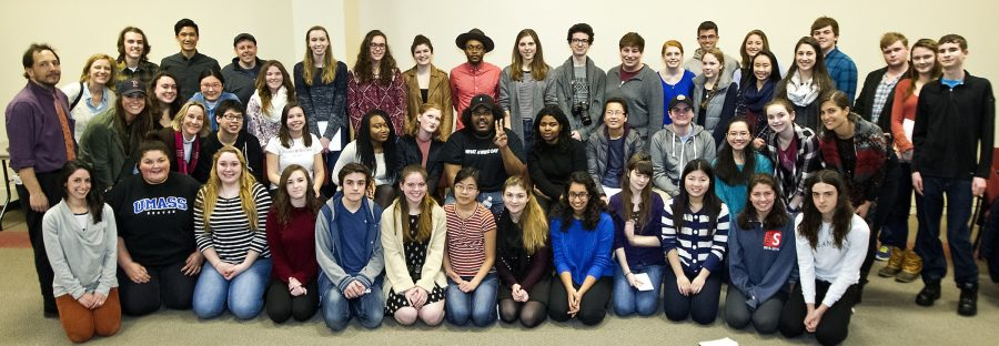Journalism+students+from+Boston-area+high+schools+pose+with+Michael+Christmas%2C+Mike+Snow%2C+and+Julian+Benbow+at+a+music+panel+at+the+Boston+Globe+on+Feb.+16%2C+2016.