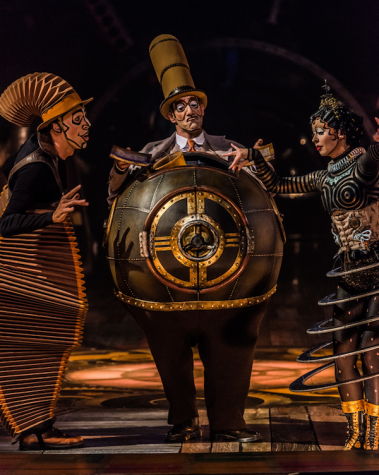 "Nico, Mr. Microcosmos, and Klara (left to right) are three of the fascinating characters met during Cirque du Soleil's ""Kurios: Cabinet of Curiosities,"" playing through July 10, 2016, at Suffolk Downs in East Boston."