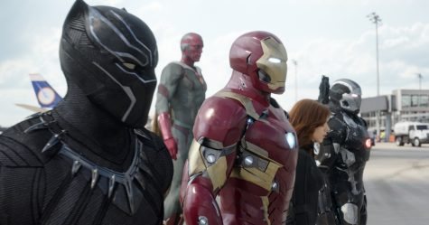 """There's plenty of superheroes in """"Captain America: Civil War,"""" including, from left, Black Panther, Vision, Iron Man, Black Widow, and War Machine."""