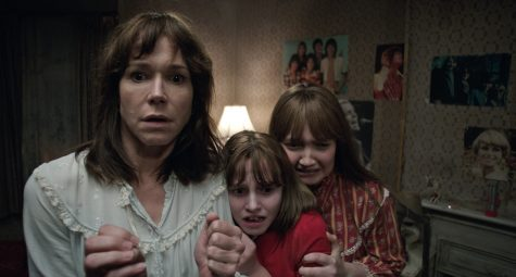 "Frances O'Connor, Madison Wolfe, and Lauren Esposito (left to right) star in the supernatural thriller ""The Conjuring 2."""