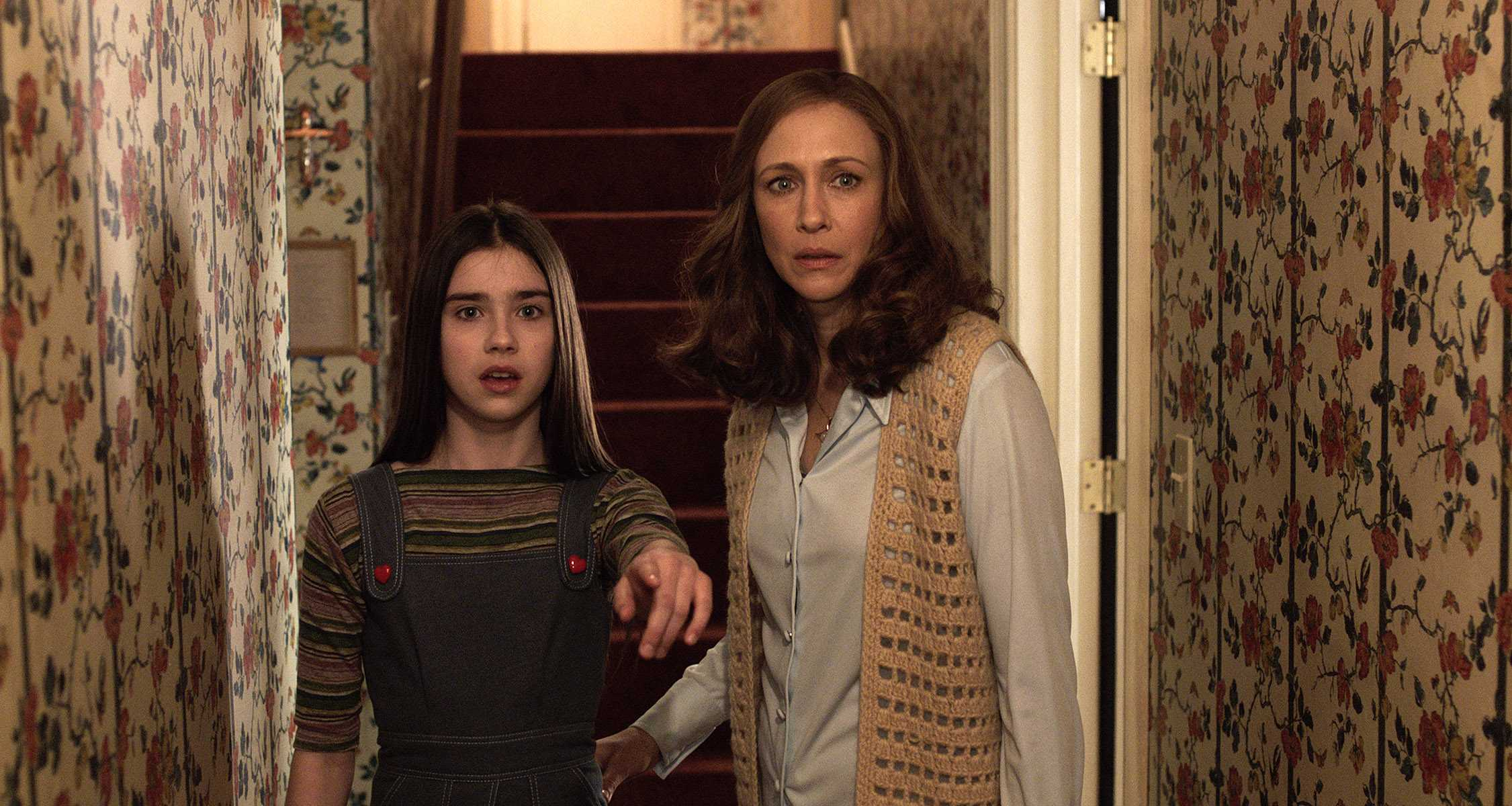 Sterling Jerins (left) plays Judy Warren, while Vera Farmiga plays Lorraine Warren in the new thriller