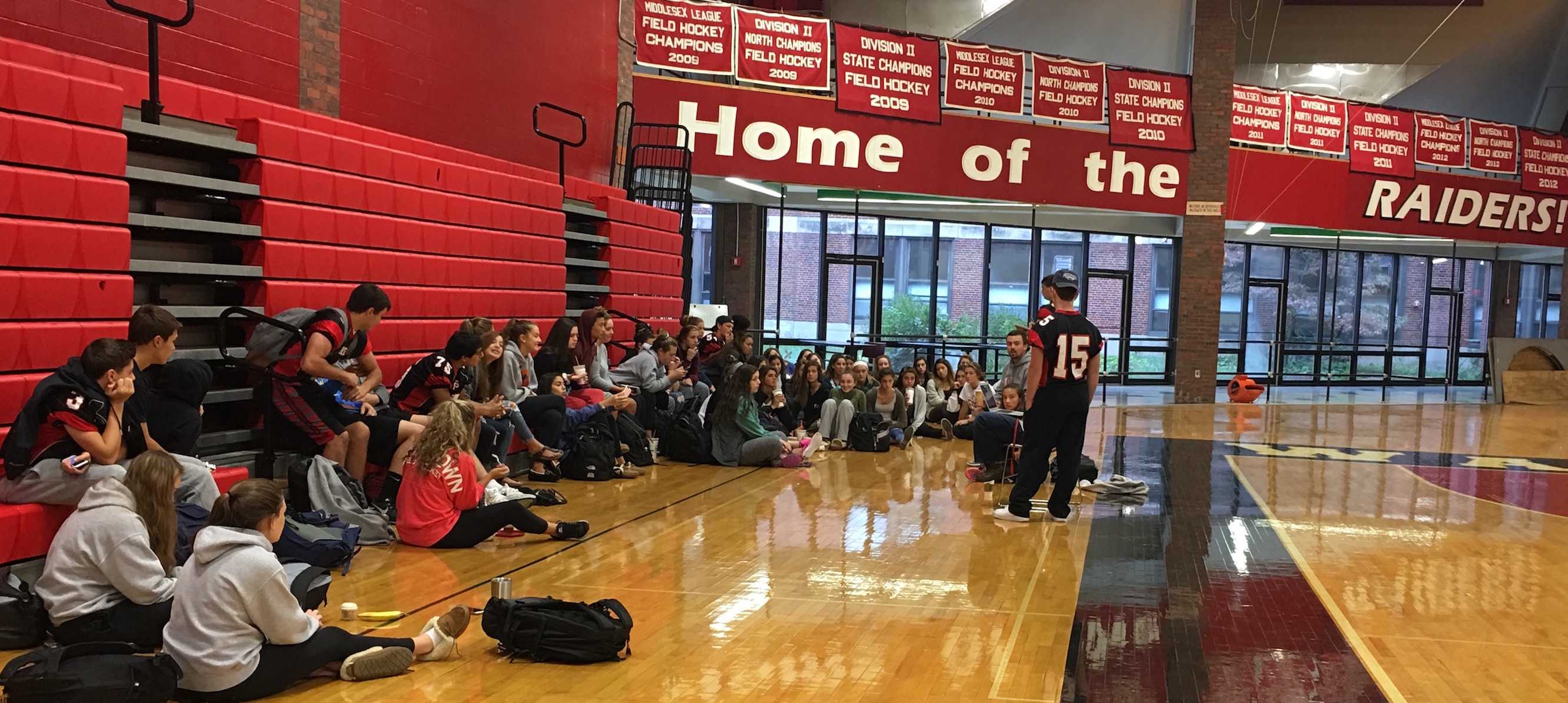 With more than 100 students involved, the Pride Committee sometimes needs to hold its meeting in the Watertown High gym so it can fit everyone.