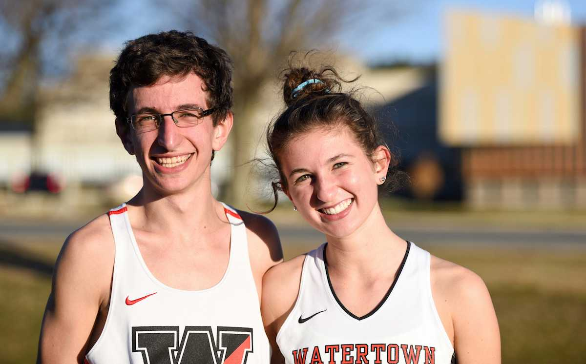 Watertown High senior James Piccirilli (left) and junior Emily Koufos pose at the Division 2 MIAA all-state cross-country meet Nov. 19, 2016, in Gardner.
