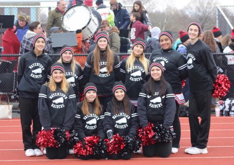 The Raiders cheerleaders pose at the annual Thanksgiving football game. Watertown defeated host Belmont, 34-28, on Nov. 24, 2016.
