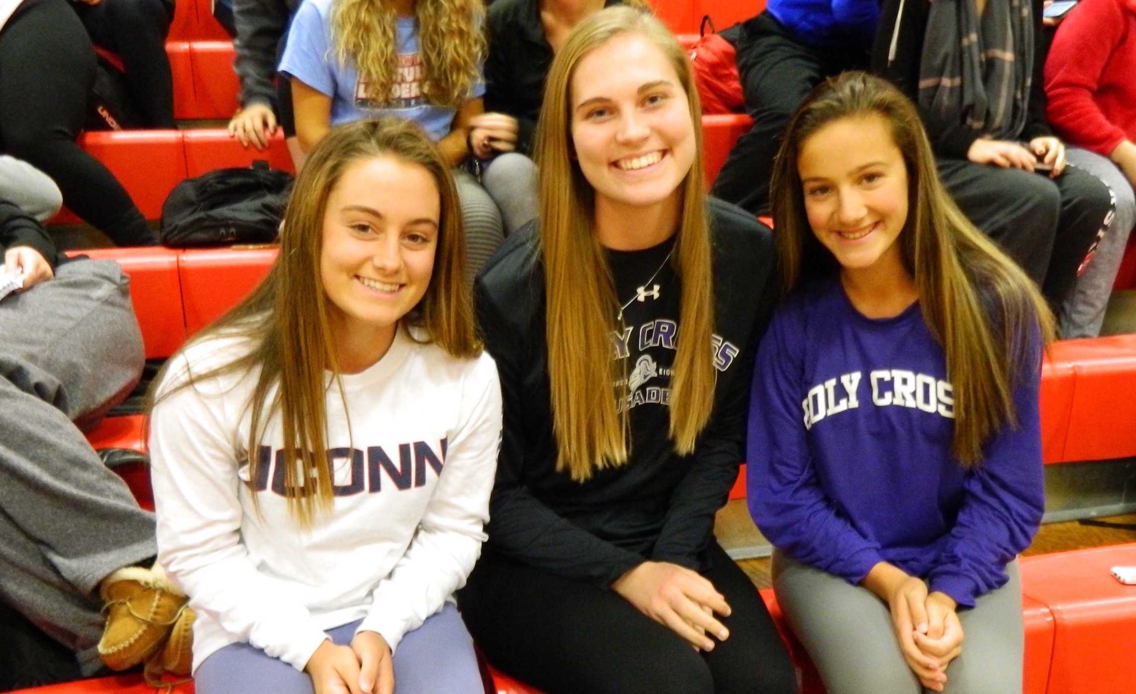 Kourtney Kennedy (UConn field hockey), Shannon Murphy (Holy Cross basketball), and Olivia Venezia (Holy Cross field hockey) made their college plans official at a signing ceremony at Watertown High School on Thursday, Nov. 10, 2016.