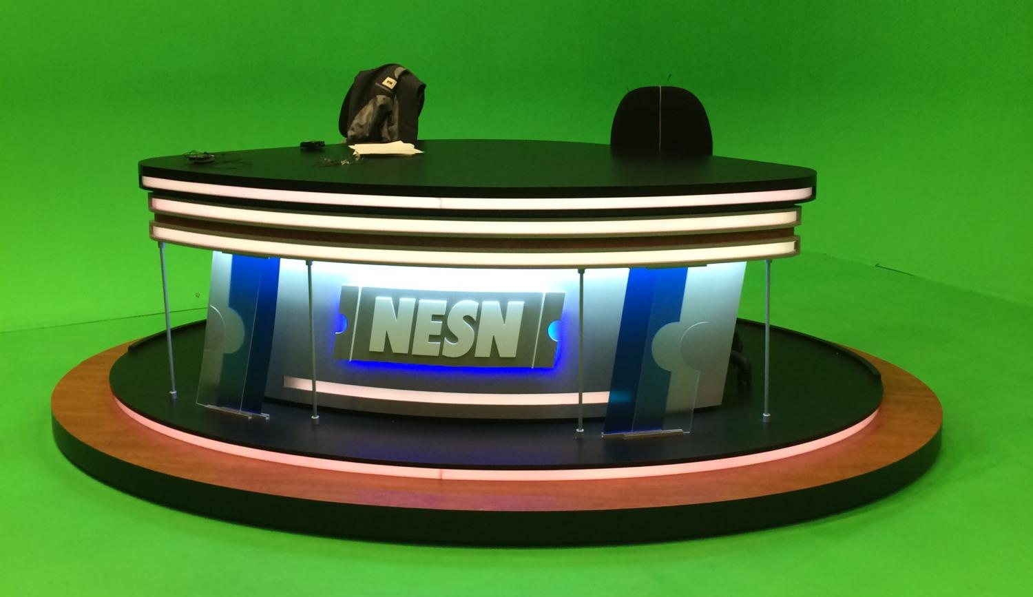 """Studio B, with its green-screen backdrop, is where shows such as """"NESN Sports Today"""" are filmed inside the Watertown, Mass., production facilities."""