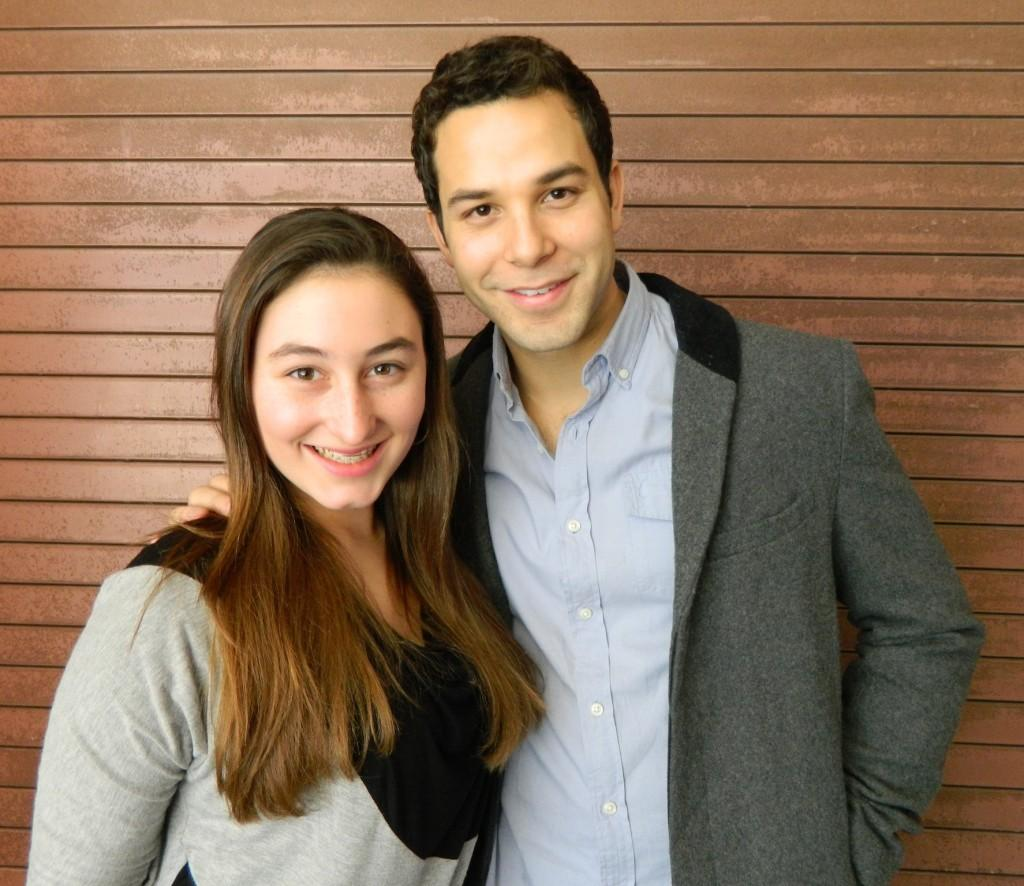 Raider+Times+reporter+Emily+Carito+%28left%29+poses+with+Skylar+Astin+after+an+interview+at+the+Junior+Theater+Festival+in+Atlanta%2C+January%2C+2013.