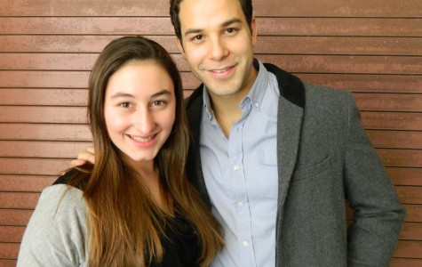 Raider Times reporter Emily Carito (left) poses with Skylar Astin after an interview at the Junior Theater Festival in Atlanta, January, 2013.