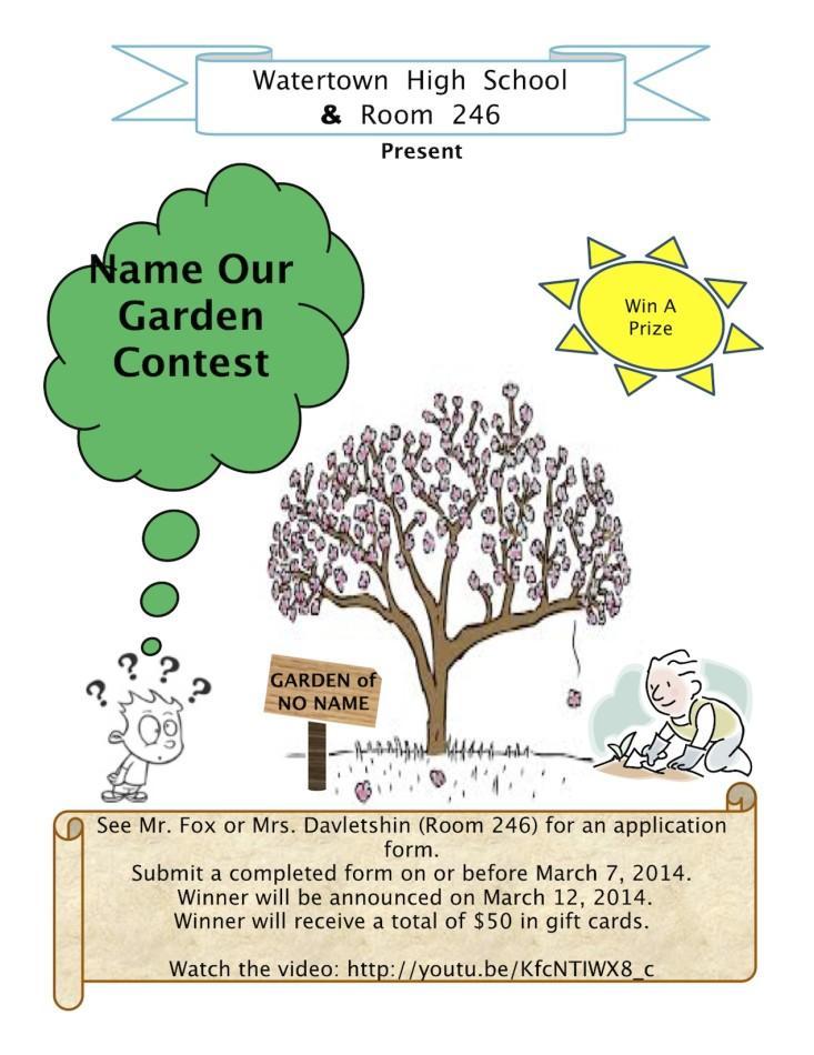 NAME OUR GARDEN Contest