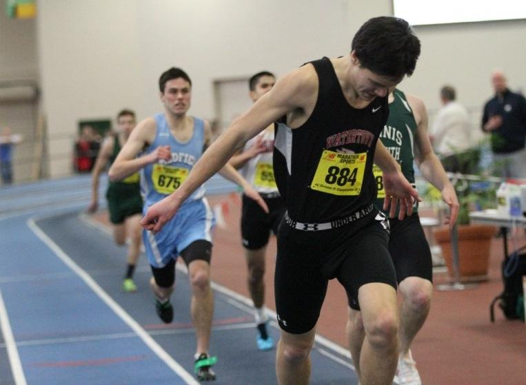 Watertown High School sophomore Austin Lin wins the 300 at the Division 4 state indoor track championships Sunday, Feb. 16, 2014, at the Reggie Lewis Center.