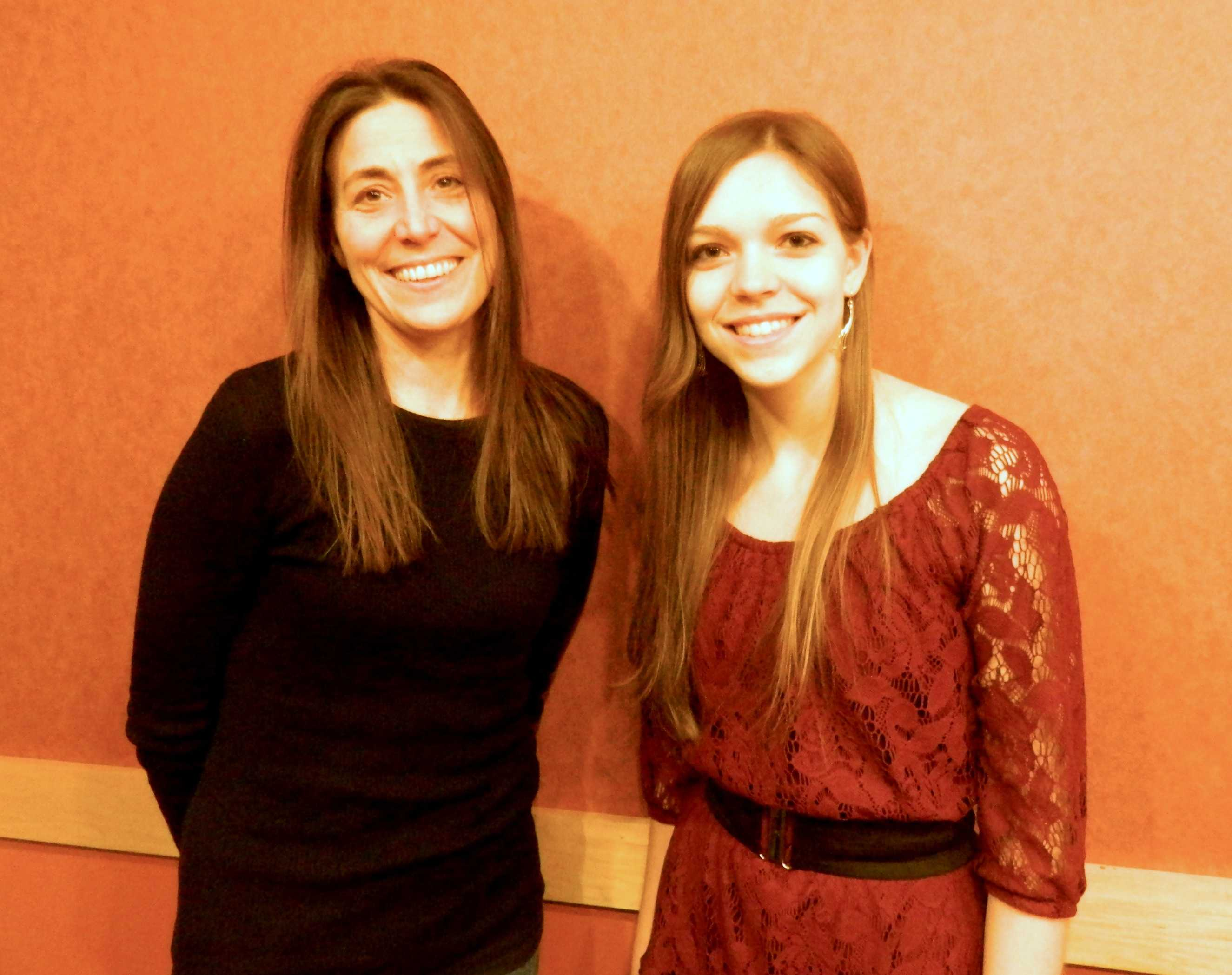 The author and the author: Rebecca Stead with her interviewer from the Raider Times at Lesley University in Cambridge, Mass., on Jan. 8, 2014.