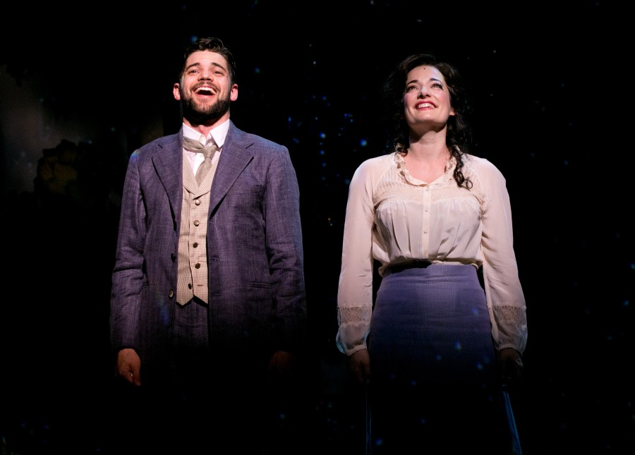 J.+M.+Barrie+%28played+by+Jeremy+Jordan%29+and+Sylvia+Llewelyn+Davies+%28Laura+Michelle+Kelly%29+have+a+musical+moment+in+%22Finding+Neverland%22+at+the+American+Repertory+Theater+in+Cambridge+through+Sept.+28%2C+2014.