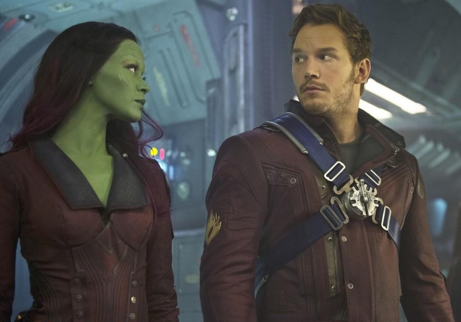 Zoe+Saldana+%28Gamora%29+and+Chris+Pratt+%28Peter+Quill%29+are+two+of+the+%22Guardians+of+the+Galaxy%22.