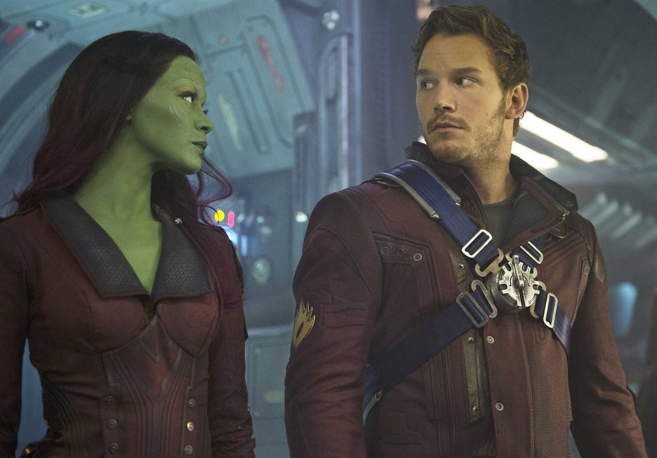 Zoe Saldana (Gamora) and Chris Pratt (Peter Quill) are two of the