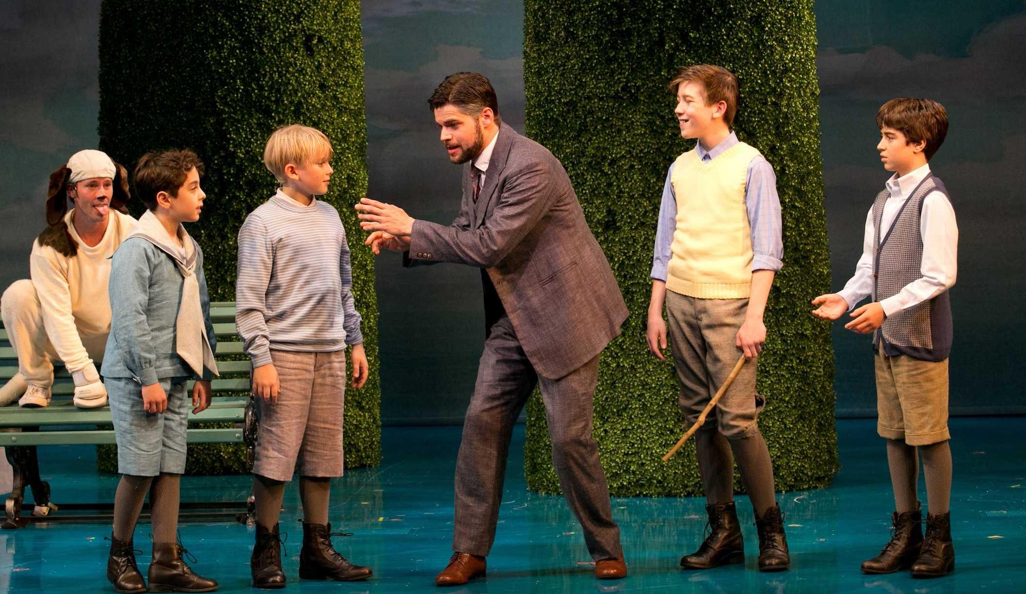 J. M. Barrie, Porthos, and the Llewelyn Davies boys play in Kensington Gardens in