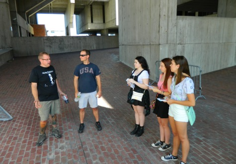 Boston Calling Music Festival founders Mike Snow (left) and Brian Appel are interviewed by Raider Times reporters at Boston City Hall as their fourth weekend music festival takes shape. (Sept. 3, 2014)