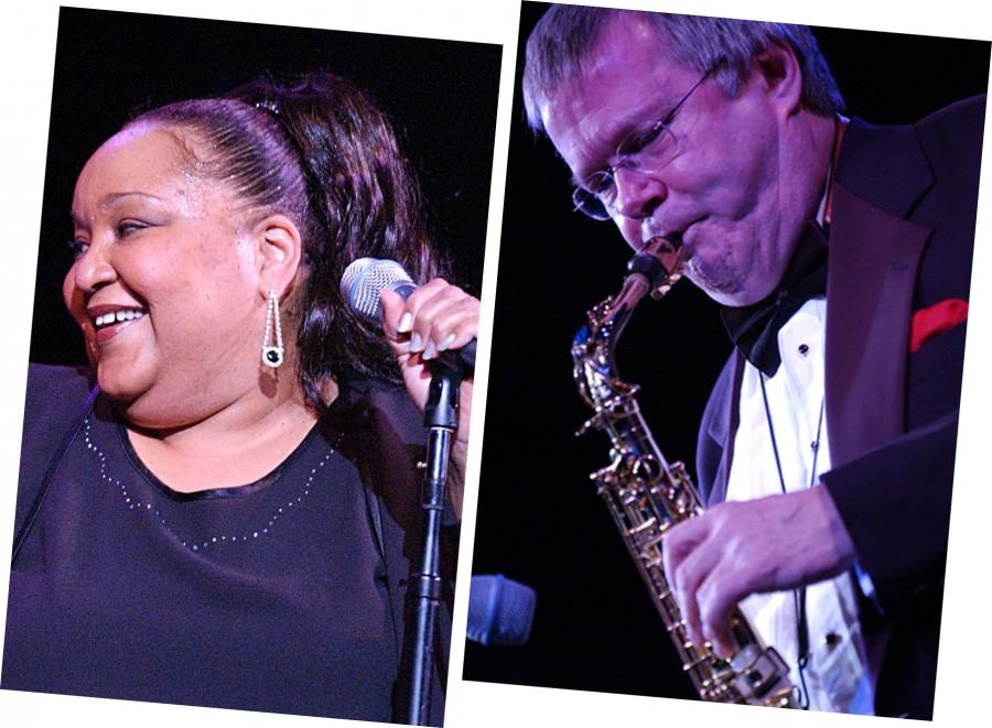 Donna+McElroy+%28left%29+and+Larry+Monroe%2C+both+members+of+the+Berklee+College+of+Music+faculty%2C+were+front+and+center+at+the+Ella+Fitzgerald+legacy+concert+at+the+Arsenal+Center+for+the+Arts+in+Watertown+on+Oct.+18%2C+2014.