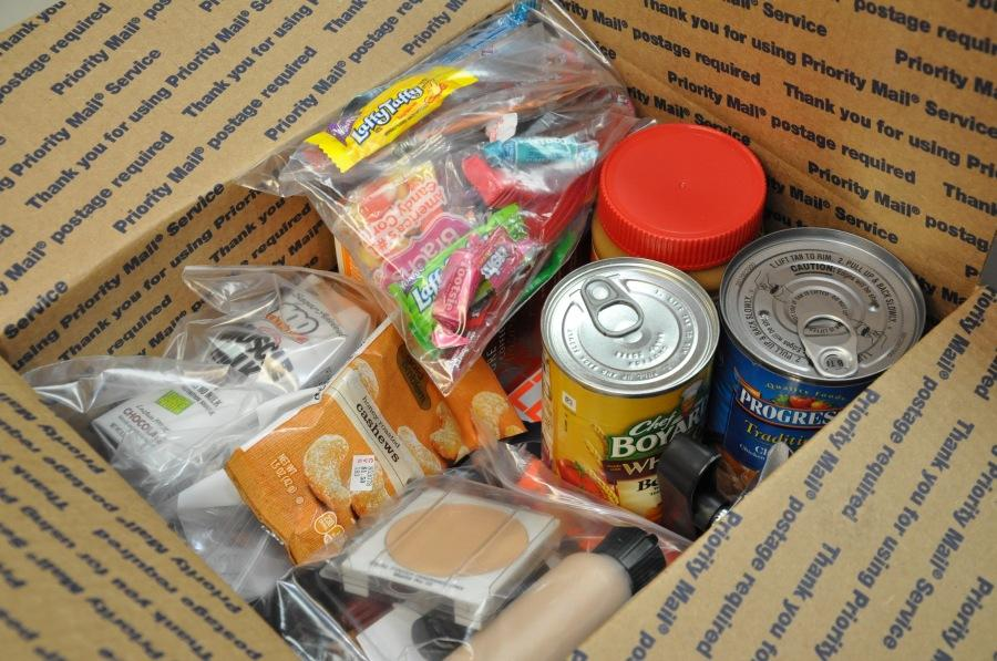 A care package assembled for shipment by Operation American Soldier, a non-profit based in Watertown, Mass.