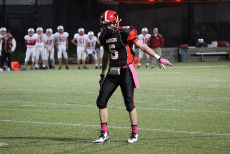Wideout Kyle Foley had a key catch during a fourth-quarter drive as Watertown High School won its last regular-season home game, 28-26, over Melrose on Oct. 10, 2014.