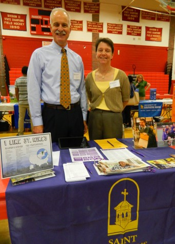 The Saint Michael's information table at the annual College Fair at Watertown High School on Oct. 9, 2014.