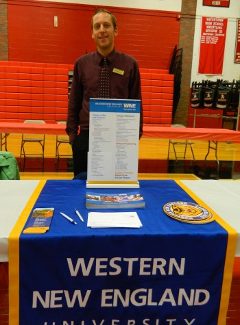 Michael Russell representing Western New England University at the College Fair at Watertown High on Oct. 9, 2014.