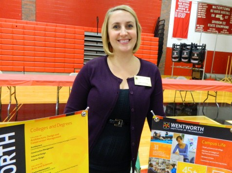 Julie Lanman representing Wentworth at the annual College Fair at Watertown High School on Oct. 9, 2014.