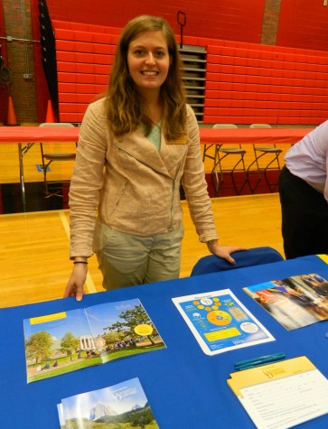 Amanda Gearhart representing the University of Delaware at the annual College Fair at Watertown High School on Oct. 9, 2014.