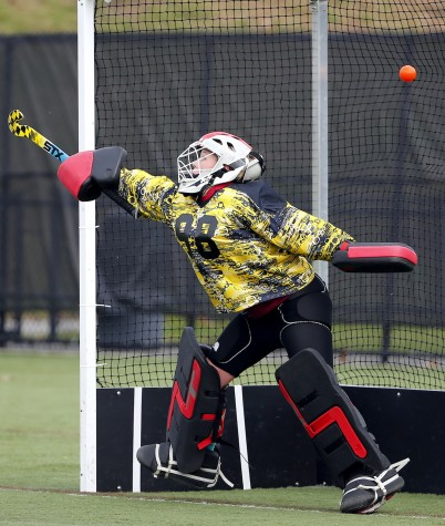 Weston goalkeeper Maddie Hayes can't stop this penalty shot by Watertown's Emily Loprete during their Div. 2 North field hockey final in North Andover, Mass., on Sunday, Nov. 9, 2014. Watertown won, 2-0, to advance to the state semifinal on Tuesday, Nov. 11, 2014.