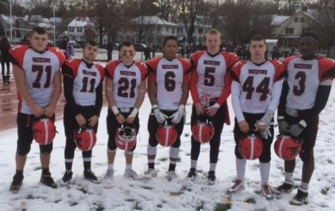 Members of the junior class on Watertown High's football team pose after the Raiders defeated Belmont, 34-13, on Thanksgiving. The Class of 2016 inherits a three-game winning streak in the ancient rivalry.