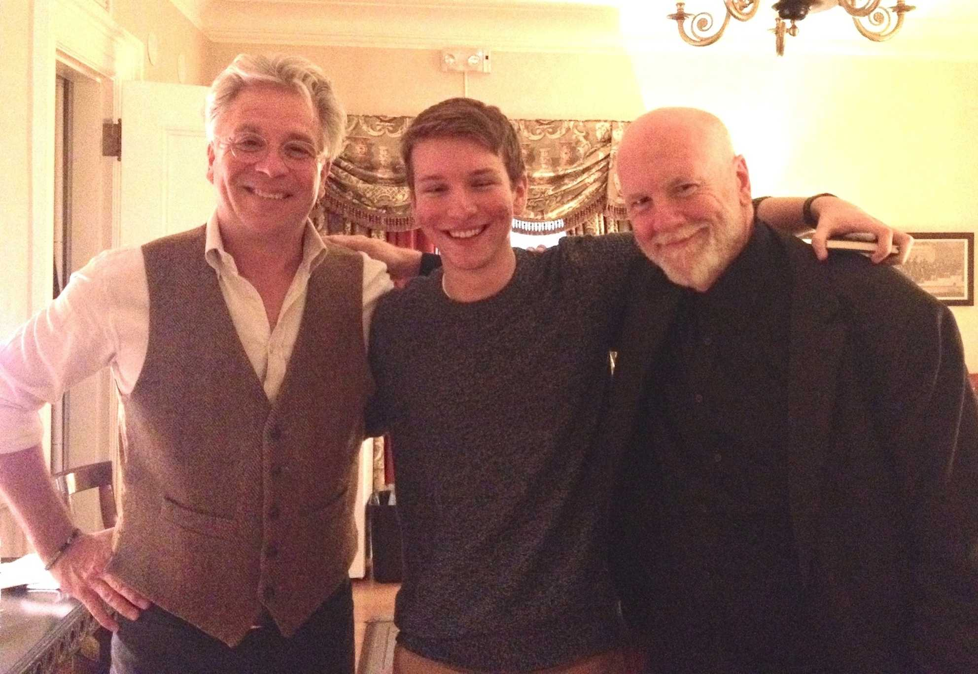 Trumpeter Håkan Hardenberger (left) and composer Brett Dean (right) with a reporter from the Raider Times at Boston Symphony Orchestra on Nov. 15, 2014.