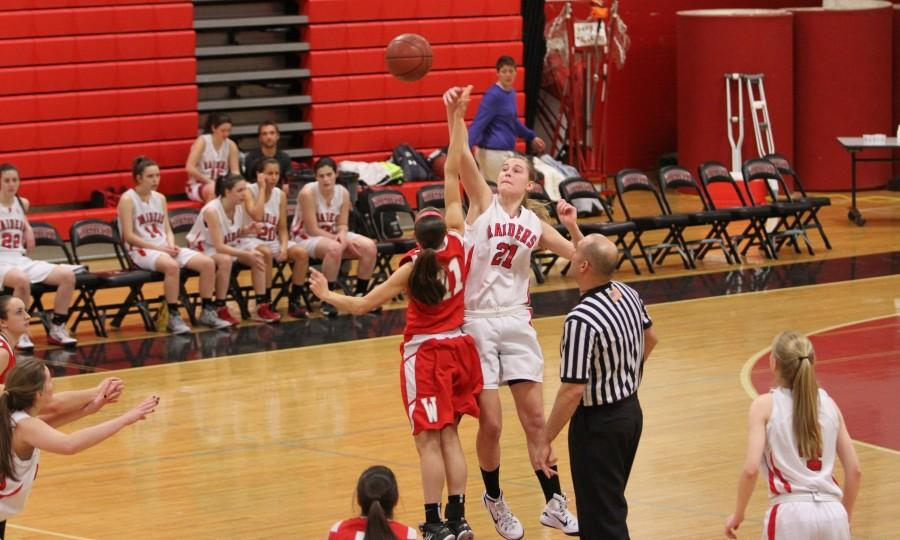 Watertown+sophomore+Shannon+Murphy+%2821%29+had+17+points%2C+7+rebounds%2C+and+8+blocks+in+the+Raiders%27+victory+over+Wakefield+on+Jan.+2%2C+2015%2C+at+Watertown+High.