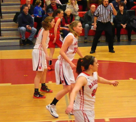 The undefeated Watertown girls' basketball team came up big in its Division 2 North game against visiting Tewksbury on Thursday, Feb. 26, 2015. The  Raiders won, 49-45, to advance to the sectional semifinals against Belmont on Tuesday, March 3, at Mystic Valley High in Malden.