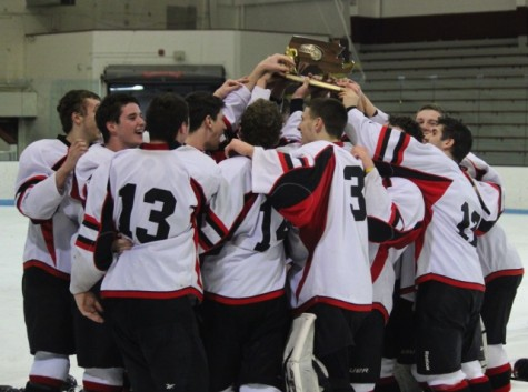 The Watertown High boys' hockey team gathers around the trophy given to the Division 3 North champions after the Raiders' 2-1 victory over Bedford at Chelmsford Arena in Billerica on Friday, March 6, 2015.