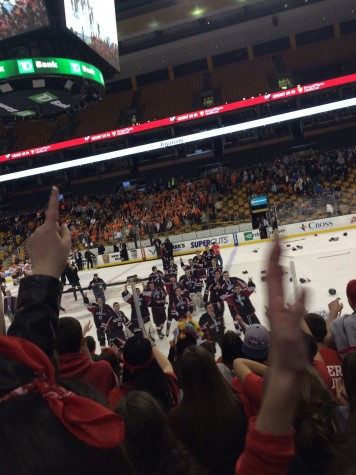 The Watertown High fan section and the Raiders hockey team celebrate the school's first MIAA Division 3 state championship. Watertown beat Agawam, 2-1, at TD Garden on Sunday, March 15, 2015.