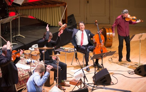 Cellist Yo-Yo Ma and the Silk Road Ensemble perform during their concert at Symphony Hall in Boston on March 4, 2015.