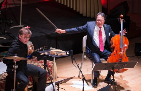 Percussionist Joseph Gramley (left) and cellist Yo-Yo Ma perform as part of a concert given by the Silk Road Ensemble at Symphony Hall in Boston on March 4, 2015.