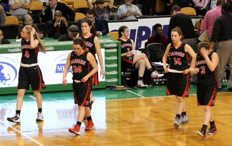 The first visit to the TD Garden parquet for the Watertown girls' basketball team was not a happy occasion, as the Raiders were defeated by Duxbury, 49-30, for the Division 2 EMass title on Tuesday, March 10, 2015.