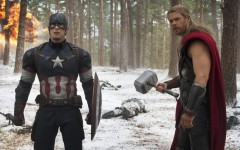 Captain America (Chris Evans) and Thor (Chris Hemsworth)  team up again in