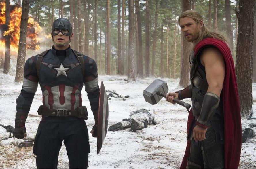 Captain+America+%28Chris+Evans%29+and+Thor+%28Chris+Hemsworth%29++team+up+again+in+%22Avengers%3A+Age+of+Ultron%22.