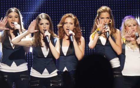 The Barden Bellas -- featuring (from left) Hailee Steinfeld, Anna Kendrick, Brittany Snow, Alexis Knapp, and Rebel Wilson -- are back on stage in