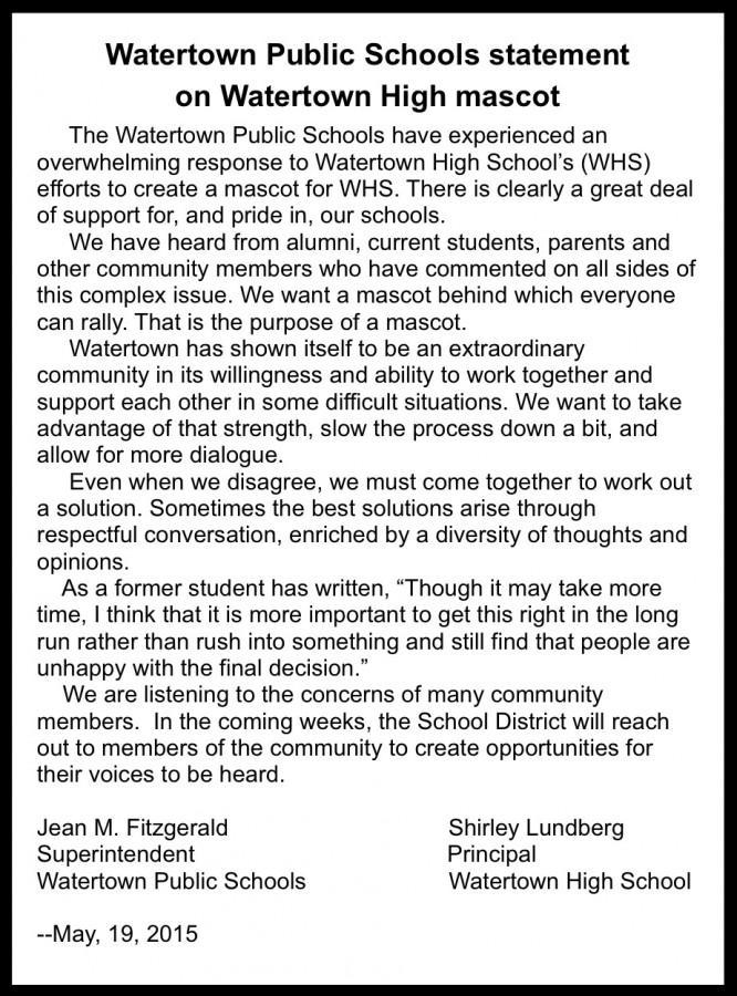 Watertown Public Schools statement about Watertown High logo
