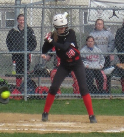 Dana Hammerle bats during a recent Watertown High softball home game at the Mount Auburn Street field outside Hosmer Elementary. Hammerle is one of four seniors on this year's WHS team.