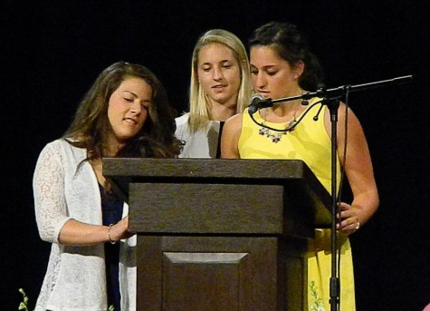 The annual Awards Night at Watertown High School was held May 28, 2015. More than $100,000 in scholarships were awarded to Watertown High seniors. The Friends of Mary Kostikian Scholarship was presented by Courtney Hopkins, Alison Holland, and Sarah MacDougall.