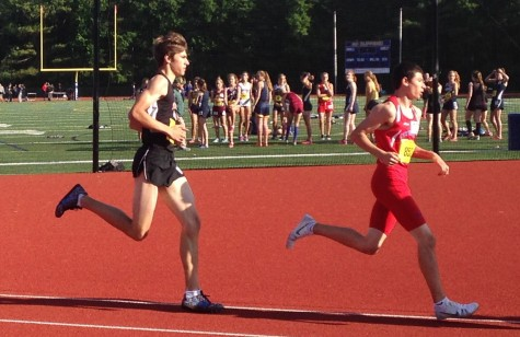 Watertown High's Jeremy Breen (left) competes in the MIAA Division 4 track championships on Wednesday, June 3, 2015, at Norwell.  Aside from racing in the mile, Breen joined Amin Touri, Prosper Lubega, and Vasken Kebabjian on the 4x400 relay team that finished second in 3:34.52.