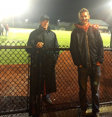 George Hoffman (left) and Michael Spillane provide security at Victory Field during Watertown High football games.