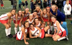 The 2015 Watertown High School field hockey team takes a moment for itself after its record-setting 6-0 victory over Melrose on Oct. 21 at Victory Field.